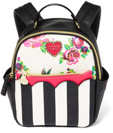Betsey Johnson Black & White Floral Mini Backpack & Pouch