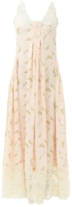 Paco Rabanne Lace-trimmed Floral-print Crepe Dress - Light Pink