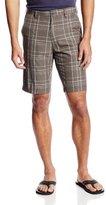 Haggar Men's C18 Flat-Front Five-Pocket Plaid Short
