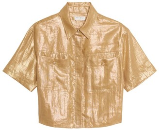 Sandro Paris Metallic Linen Shirt