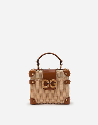 Dolce & Gabbana Amore Box Bag In Wicker And Cowhide