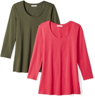 Daily Ritual Amazon Brand Women's Stretch Supima 3/4-Sleeve Scoop Neck T-Shirt