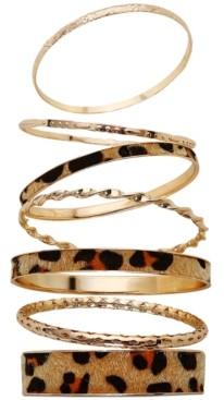 GUESS Gold-Tone 7-Pc. Set Leopard-Print Faux-Fur Bangle Bracelets
