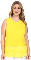 MICHAEL Michael Kors Size Sleeveless Crew Woven Mix Top