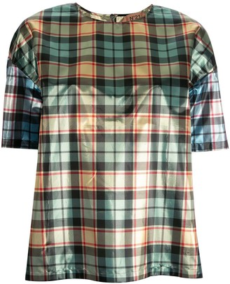 No.21 boxy check T-shirt