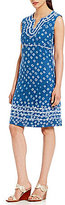 Tommy Bahama Shibori Nights Embroidered Linen Dress