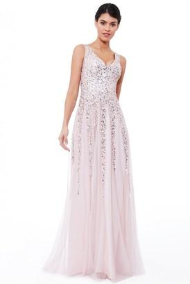 Goddiva Blush Sunray Sequin Maxi Dress
