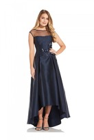 Adrianna Papell Mikado High Low Dress In Midnight