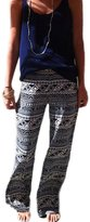 YACUN Women's Floral Printed Long Straight Casual Sport Trousers XL