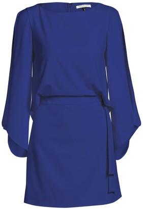 Halston Slit-Sleeve Crepe Dress