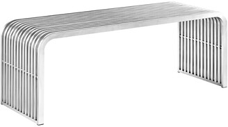 Modway Pipe 47In Stainless Steel Bench