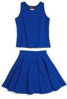 Un Deux Trois Girl's Textured Tank & Skirt Set