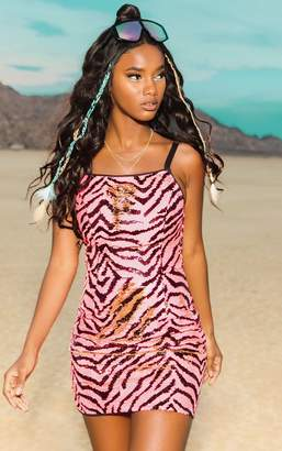 PrettyLittleThing Gold Zebra Sequin Strappy Bodycon Dress