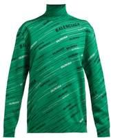 Balenciaga Logo-intarsia Wool-blend Sweater - Womens - Black Green
