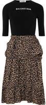 Balenciaga Stretch-jacquard And Leopard-print Crepe Dress - Black