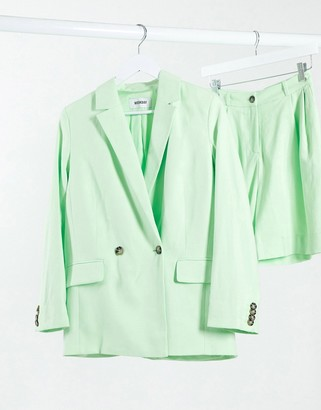 Weekday Yoko co-ord double breasted linen effect blazer in bright green