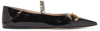 Gucci Horsebit Chain-bridge Patent-leather Flats - Black
