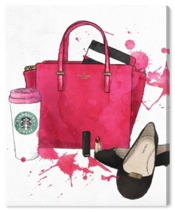 "Oliver Gal Bags, Shoes, and Coffee Canvas Art - 20"" x 17"" x 1.5"""