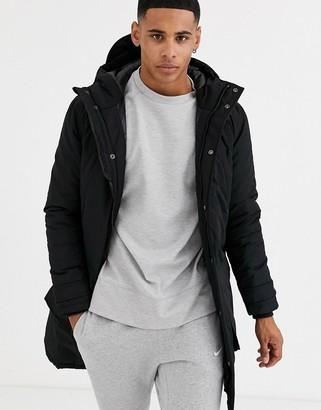 Schott Calgary long hooded nylon parka jacket slim fit quited lining in black