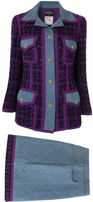 Chanel Pre-Owned quilted denim skirt suit