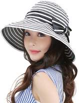 Siggi Womens UPF50+ Summer Sunhat Bucket Packable Crushable Foldable Wide Brim Hats w/ Chin Cord Black
