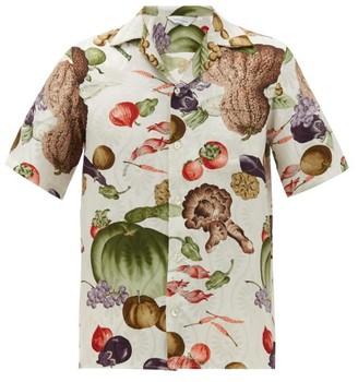 Nipoaloha - Fruit And Vegetable-print Silk Shirt - White Multi