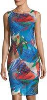 Ellen Tracy Floral-Print Shadow-Striped Sheath Dress