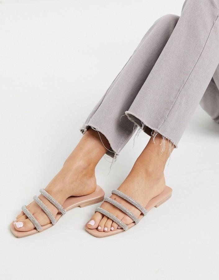 Simmi Shoes Simmi London Regine embellished flat sandals in beige