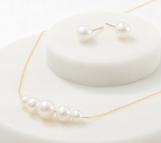 Honora 14K Gold Cultured Pearl Earrings and Necklace Set