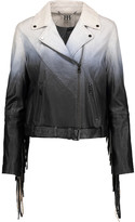 Haute Hippie Fringed degradé leather biker jacket