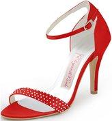 ElegantPark HP1408 Women Satin Ankle Strap Open Toe Pumps Rhinestones High Heel Sandals Evening Party Shoes US 5