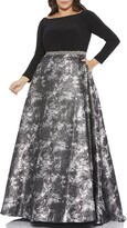 Thumbnail for your product : Mac Duggal Plus Size Long-Sleeve Jersey Bodice Metallic A-Line Gown