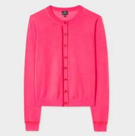 Paul Smith Fuscia Wool Cardigan - LARGE - Pink