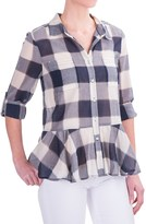 dylan Sheer Buffalo Plaid Peplum Blouse - Long Sleeve (For Women)