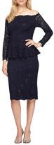 Alex Evenings Lace Peplum Dress (Regular & Petite)