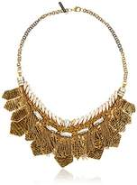 Deepa Gurnani Hand Embroidered Chain with Clasp Fastening, Faceted Crystals, Layered Sequin and Metallic Fringe Detail Leather on Reverse Gold Necklace