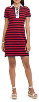 Chaps Petite Striped Lace-Up Polo Dress