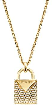 Michael Kors Kors Color Pave Sterling Silver Padlock Charm Necklace in 14K Gold-Plated Sterling Silver, 14K Rose Gold-Plated Sterling Silver or Solid Sterling Silver, 16
