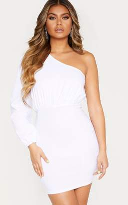 Ooh! La Oohla White Woven One Shoulder Puff Sleeve Bodycon Dress