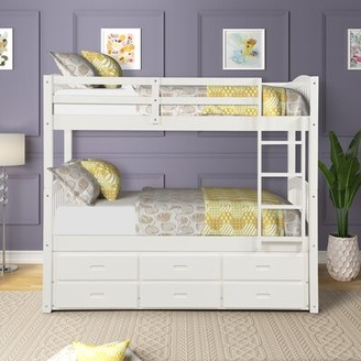 Harriet Bee Huxley Twin Bunk Bed with Trundle and Drawers Bed Frame Color: White