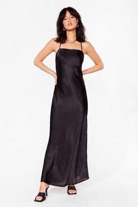 Nasty Gal Womens Don't Slip Down Satin Maxi Dress - Black