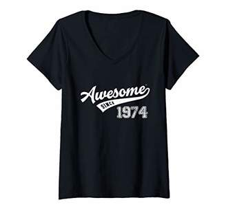Womens Awesome Since 1974 Old School Baseball 45th Birthday Gift V-Neck T-Shirt