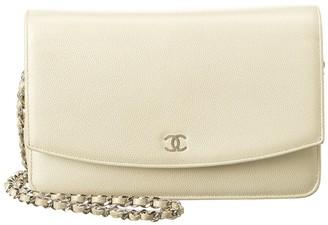 Chanel Light Grey Lambskin Leather Wallet On Chain