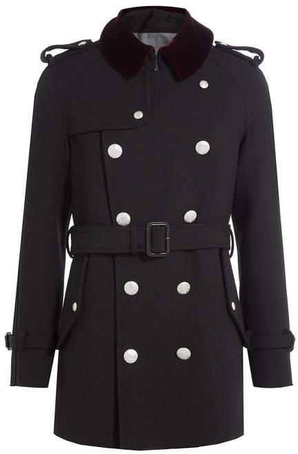 Alexander McQueen Wool Coat with Embossed Buttons