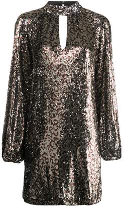 Milly sequinned leopard print dress
