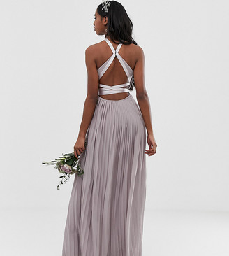 TFNC Tall pleated maxi bridesmaid dress with cross back and bow detail in grey