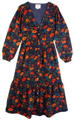 Meadows Orchard Navy Floral Needlecord Dress - sz 8 | navy | multi floral | polyester - Navy