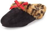Patricia Green Logan Leopard-Print Faux-Fur Slipper, Black/Red