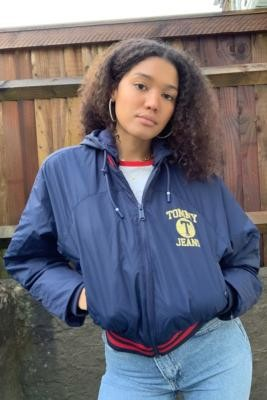 Tommy Jeans Detachable Hood Bomber Jacket - Blue XS at Urban Outfitters