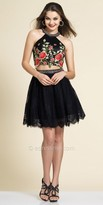 Dave and Johnny Lace and Floral Two Piece Halter Cocktail Dress